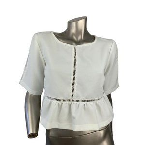 MUSTARD SEED | White Cut Out Peplum Blouse MED